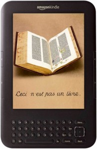 Photo illustration of a picture of an Kindle. On the screen is a picture of an old hardcover book with the text This is Not a Book (in French).